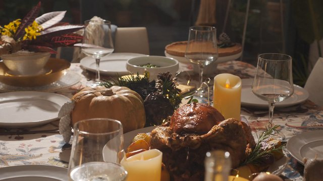 Thanksgiving Dining Table Just Before a Celebration thumbnail