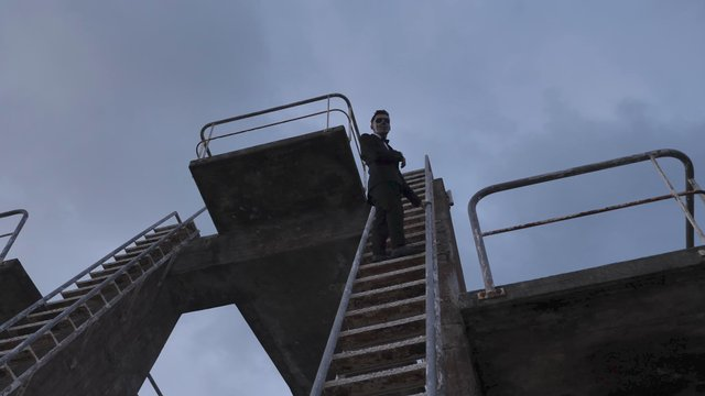A Man Stands on a Ladder and Looks Down thumbnail