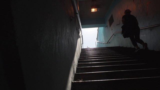 Woman Walking Up the Stairs thumbnail
