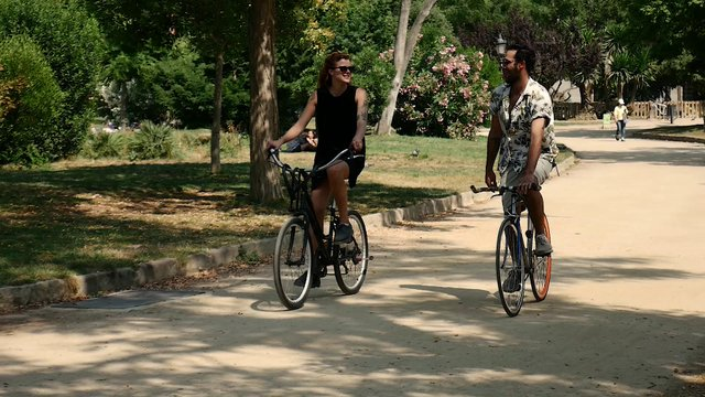 Lovers Riding Bikes In Park  thumbnail