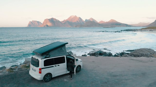 Woman Gets Out Of Campervan  thumbnail