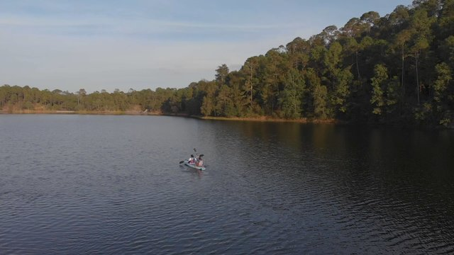Friends Kayaking On Lake In Mexico  thumbnail