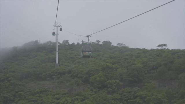 Aerial View of Cableway and Forest in the Mountains thumbnail