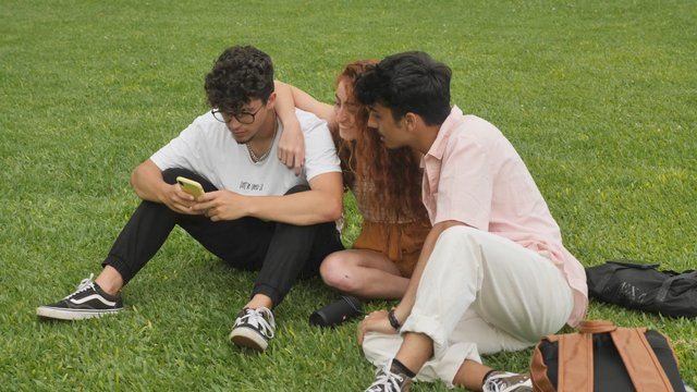 Group of Friends Hanging out on the Grass thumbnail