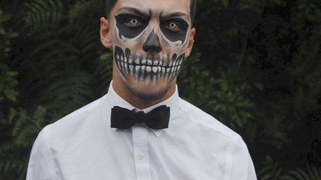Scary Man Face in Carnival Makeup of Skull thumbnail