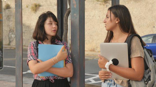 Students Talking in Bus Stop thumbnail
