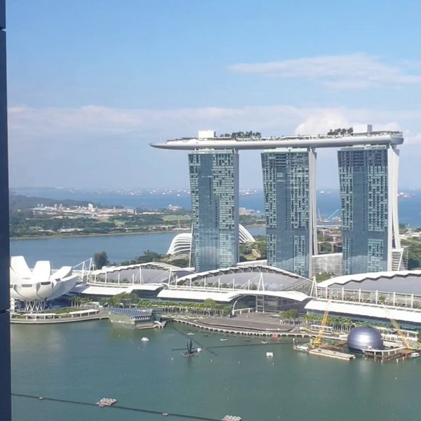 Overlooking the breathtaking views of Marina Bay Sands