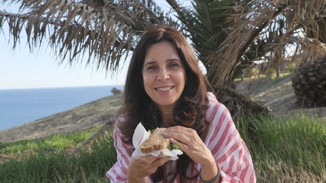 Woman Eating a Sandwich at a Picnic thumbnail