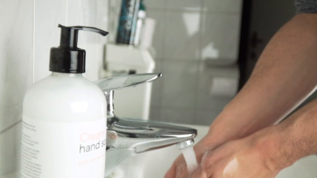 Washing Hands With Soap In Slow Motion thumbnail
