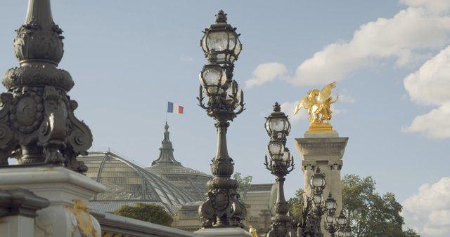 Gold Horse Sculpture on Pont Alexandre III Bridge in Paris  thumbnail