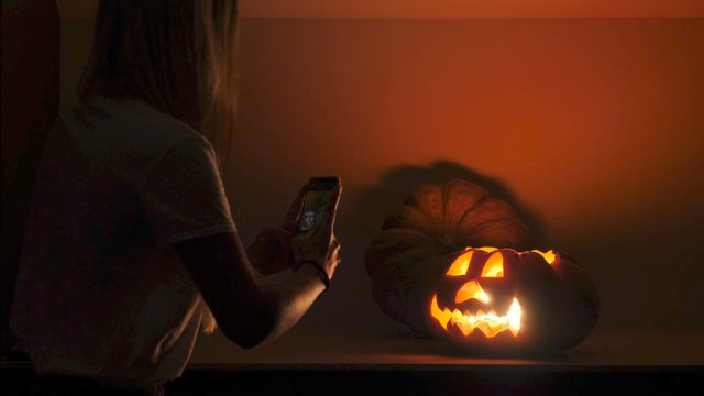 Photo Session of a Carved Pumpkin  thumbnail