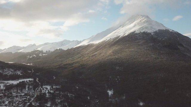 Snowy Mountain Range in Tierra Del Fuego, Argentina thumbnail