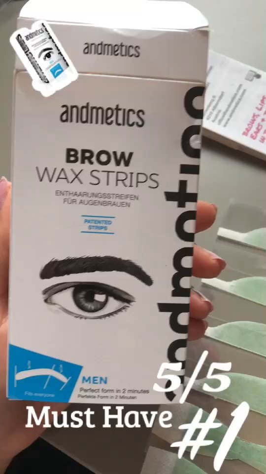 Andmetics Wax Depilation strips for Eyebrows, Upper lip and T-Zone