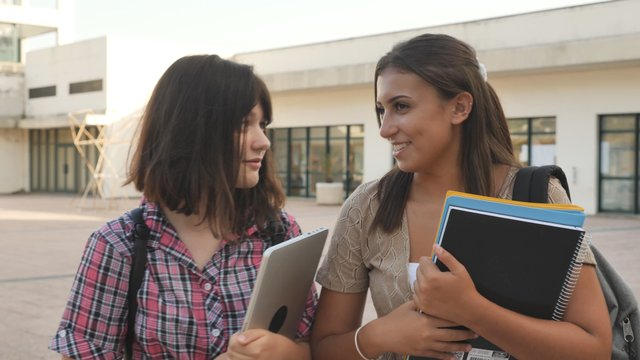 College Girls Gossiping on Campus thumbnail