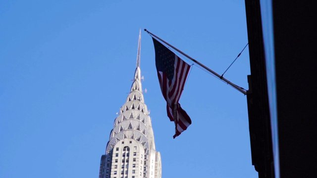 US Flag near Chrysler Building thumbnail