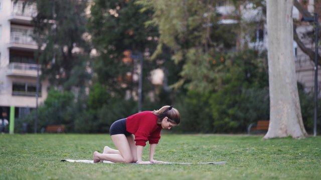 Girl Doing Sirsasana Yoga Pose thumbnail
