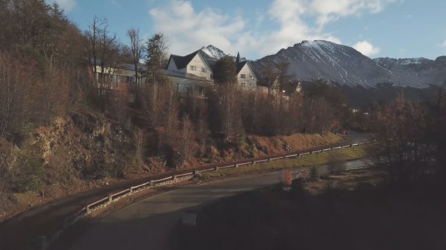 Town With Mountain Background In Tierra Del Fuego Argentina thumbnail