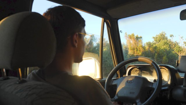 Young Man Driving in the Car thumbnail