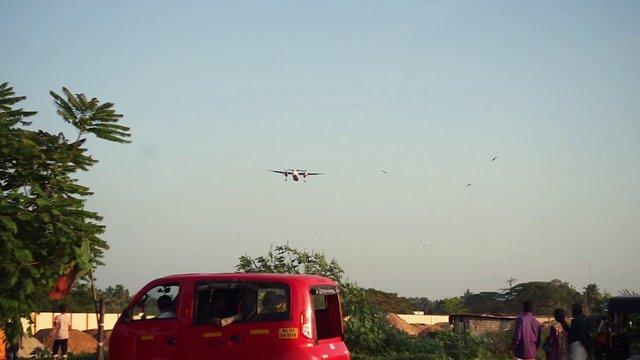 Plane Landing During Sunset Hours thumbnail
