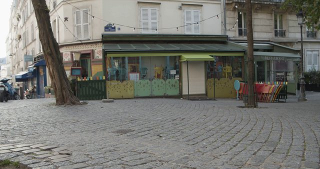 Empty Cafe On Paul Albert Street In Paris thumbnail