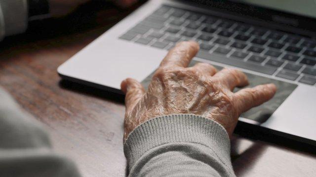 Grandfather & Granddaughter Browsing On Laptop  thumbnail