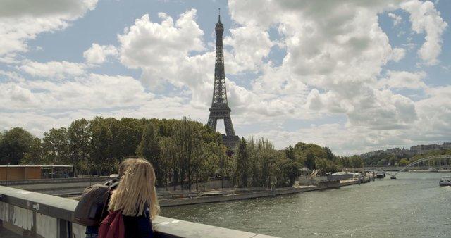People on Bridge near Eiffel Tower  thumbnail