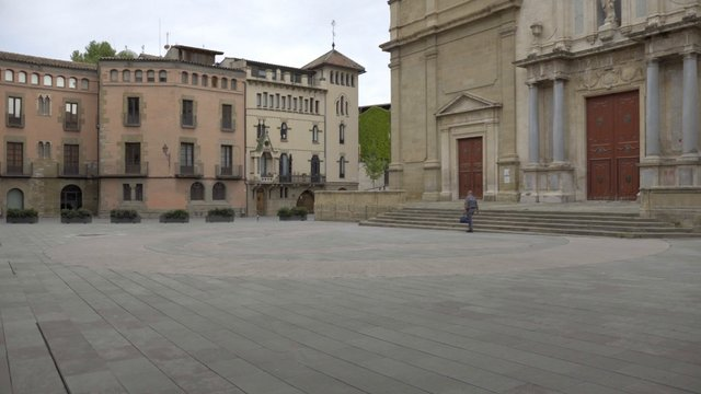 Empty Spanish Cathedral Square Panning Shot thumbnail