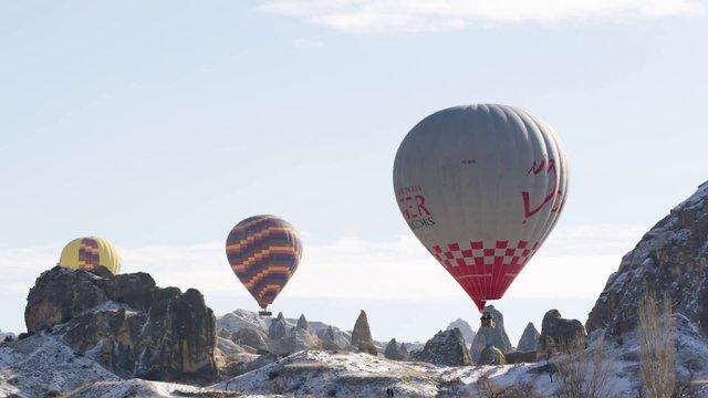 Hot Air Balloons near Mountains thumbnail