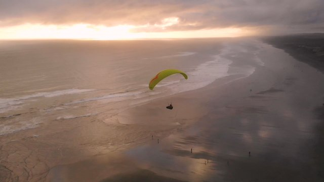 Paragliding Into The Sunset On Muriwai Beach, NZ  thumbnail