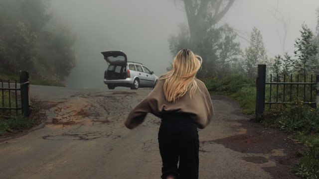 Girl Runs Away From Scary Forest & Gets Inside Car thumbnail