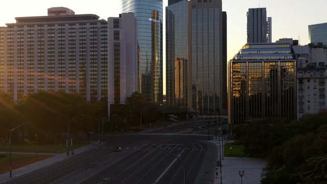 Empty Roads And Glass Skyscrapers In Buenos Aires  thumbnail