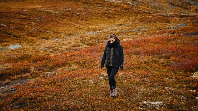 Woman Walking in Red Field thumbnail