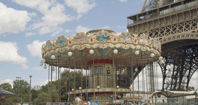 Carrousel near Eiffel Tower in Paris  thumbnail