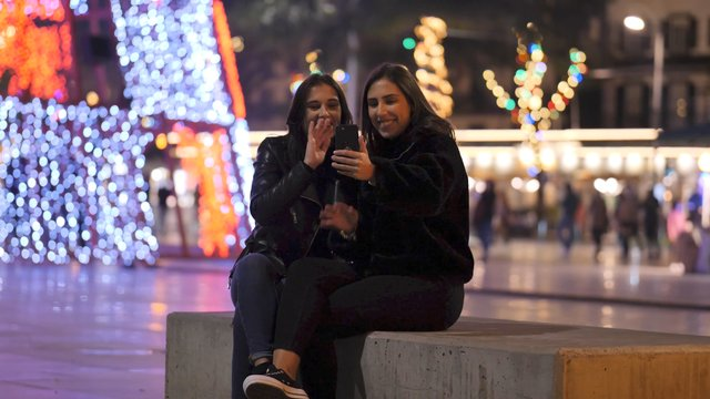 Girls Have Video Call Outdoors thumbnail