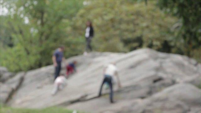 Family Climbing a Mountain in the Park thumbnail